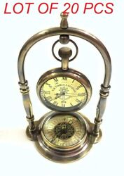 Vintage Antique Victoria London Solid Brass Clock With Compass Table Top Decor