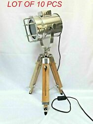 Nautical Maritime Theater Stainless Steel Searchlight Floor Lamp With Tripod