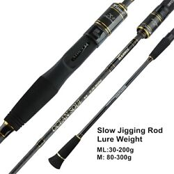 Fishing Lure Rod High Carbon Casting Spinning Slow Jigging 2 Section Ocean Boat