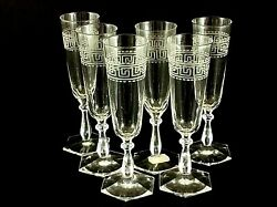 Antique Vintage French Baccarat Clear Etched Crystal Champagne Glasses Flute