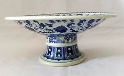 A Rare Genuine Chinese Antique Ming Dynasty Qing Hua Porcelain Plate 青花盘)