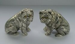 Stunning Rare 800 Continental Solid Silver Pug Dogs Salt And Pepper Set 186g