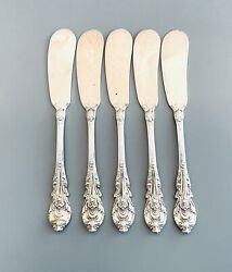 Five Sterling Silver Flat Handled Butter Spreaders Sir Christopher By Wallace