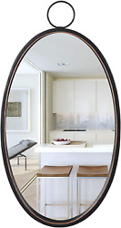 RiteSune Black 12 Inch Mirrors for Wall Decor Brushed Metal Frame Oval Wall Mir