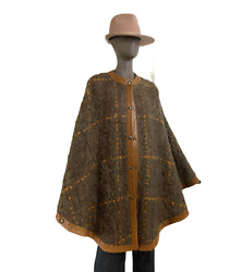 Vintage Hermes Cape Mohair And Leather Trim 70's Chic Poncho Wrap Coutur Boho Styl