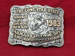 Rodeo Trophy Buckle Champion Vintage Bronc Riding☆1983☆tx Armadillo Buckout155
