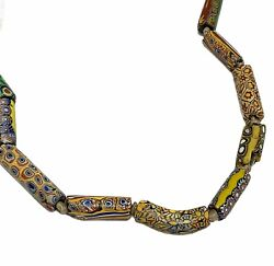 Antique African Trade Bead Necklace Millefiori Colorful Prayer Beads Collectible