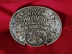 Rodeo Trophy Buckle Champion Vintagebronc Riding☆1983☆powder River Wyoming 484