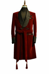 Mens Quilted Red Velvet Gown Smoking Jacket Robe Party Wear Dinner Blazer Coat
