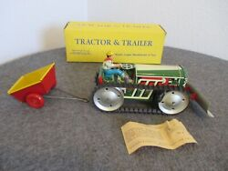Marx Tin 1950s Tractor,trailer,driver And Plow W/box+paper Wind-up Toy-not Running