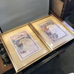 Set Of Two Framed Reproduction 1908 French Cruise Line Dinner Menu's