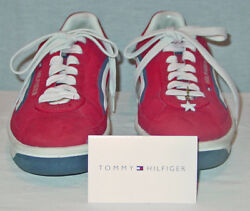 Tommy Hilfer Ladies Red Triple J Laced Tennis Shoes Size 8m Excellent Condition