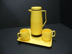 Vintage Thermos Insulated Carafe-2 Dinex Cups And Tray Set Usa King Seeley Mcm