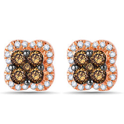 5/8 Ct Champagne And White Diamond Clover Stud Earrings In 10k Rose Gold