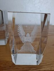 Set Of 2 3d Laser Etched Crystal Glass Cube 3 Paperweight Used Angel -piano