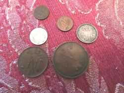 Lot Of 6 Antique Coins Of Finland Under Russian Empire.