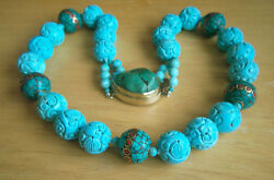 One Of Kind Chinese Tibet Large Carved Turquoise Bead Necklace 28 1/4 Af