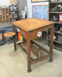 Antique Industrial Technical Drafting Table / Workbench With Swing Out Stool