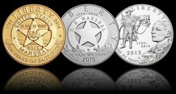 2015 Us Marshals Service Commemorative 3-coin Proof Set 1/4oz-gold Silver Dollar