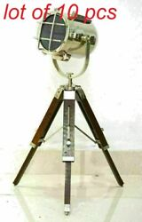 Vintage Style Lamp Floor Spot Light Maritime Home Decor With Wooden Tripod Stand
