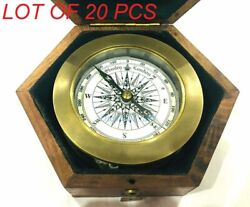 Brass Compass With Folding Magnifying Glass In Wooden Box Antique Collectible
