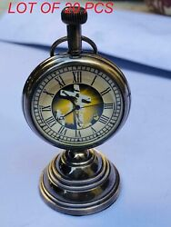 Nautical Beautiful Brass Table Top Decor Vintage Clock With Stand Collectibles
