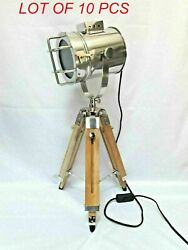 Nautical Maritime Theater Stainless Steel Search Light Tripod Floor Lamp Decor