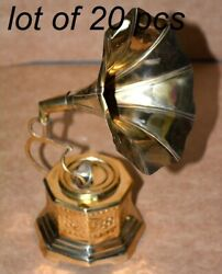 Vintage Antique Full Brass 9 Gramophone Mini Collectible Home Decor Gift Item