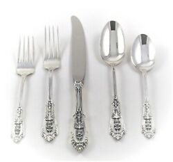 Sterling Silver Wallace Rose Point 8 Five Piece Settings + 6 Serving=46 Pieces