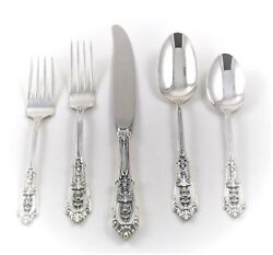 Sterling Silver Wallace Rose Point, 8 Five Piece Settings + 6 Serving=46 Pieces