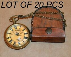 Antique Vintage Marine Brass Pocket Watch Kelvin And Hughes And Leather Case