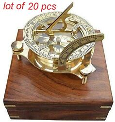 Antique 4 Sundial Compass Solid Brass Nautical Compass With Wooden Box Gift