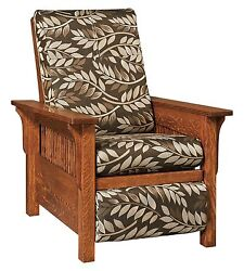 Amish Mission Arts And Crafts Landmark Recliner Accent Chair Solid Wood Upholstery