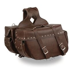 Milwaukee Leather Large Antique Brown Zip-off Throw Over Riveted Saddlebag Set