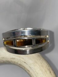 Authentic Dead Pawn Native American Sterling Silver Tiger Eye Cuff 3.77 Ounces