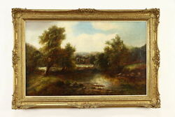 Forest Pond And Ruins Original Vintage Oil Painting, Marshall Field 49 35832