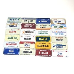 Vintage Post Cereal Mini Bicycle License Plate Miniature 1979-1990 Lot Of 24