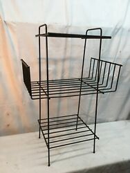 Vintage Metal 3 Tier Plant Stand Mid Century Modern Black Wire Rack Side Table