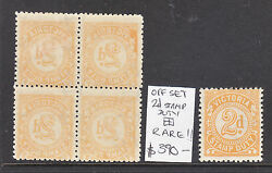 Victoria Stamp Duty 2d Block Of 4 All Offset, A Rare Block Muh/mh
