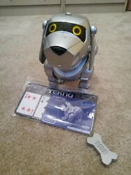 Silver Tekno The Robotic Puppy Dog, Bone, And Manual Battery Compartment Stained