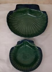 Pair 2 Olfaire Majolica Shell Tray Platter Plate Blue Portugal Vintage Nautical
