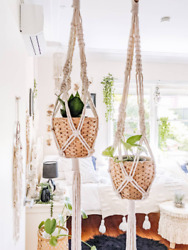 Macrame Plant Hanger With Woven Basket