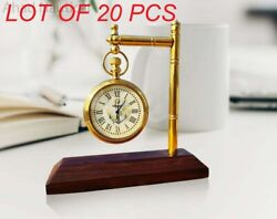 Vintage Brass Desk Clock With Wooden Base Table Clock Decorative Collectible