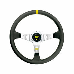 Omp Italy Corsica Silver-yellow Leather Steering Wheel Size Universal