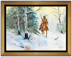 Gerry Metz Original Painting Oil On Board Native American Horse Western Signed