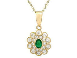 1.50cts Natural Round Diamond 14k Solid Yellow Gold Wedding Emerald Pendant