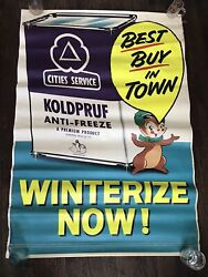 Vintage 1950's/'60's Cities Service Anti Freeze Canvas Advertising Banner/sign