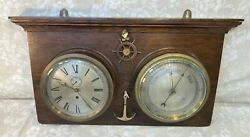 Antique Ships Clock And Barometer On Oak Wall Plaque Clock Running Bar Operating