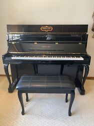 Schafer And Sons Upright Vertical Vs-44a Studio Piano 1988 Glossy Black