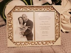 Stunning And Heavy 2008 Fetco Home Decor Open Heart Double Picture Frame With Gems